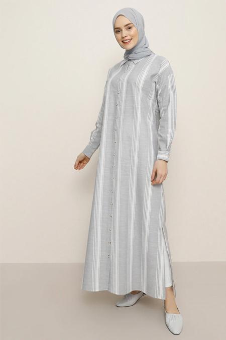 Benin Gri Çizgili Desenli Elbise