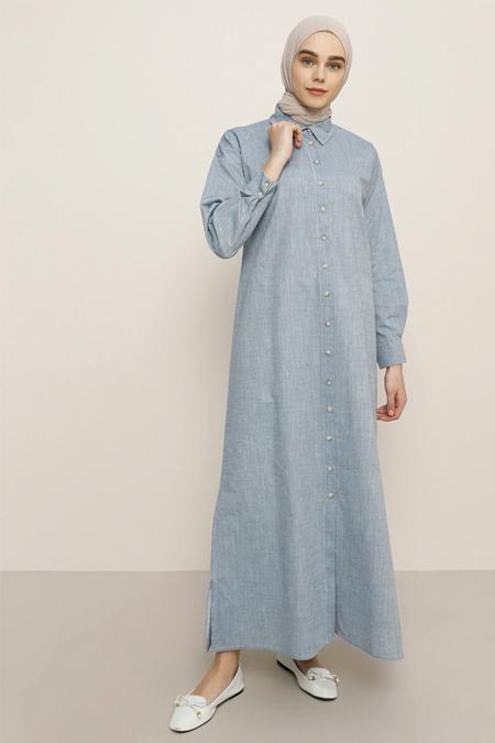 Benin Lacivert Boydan Düğmeli Elbise