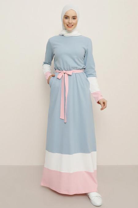 Benin Mavi Beyaz Doğal Kumaşlı Kuşaklı Elbise