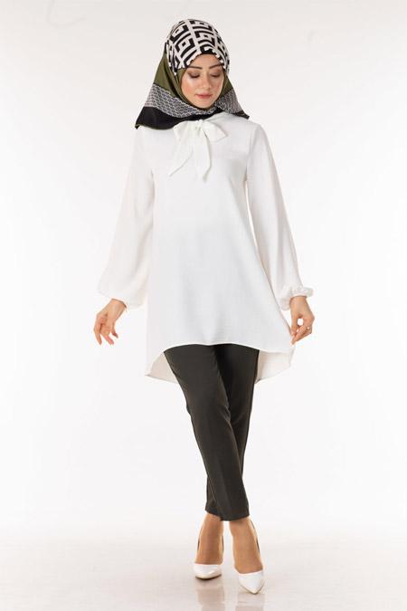 Beyaz Fularlı Tesettür Tunik