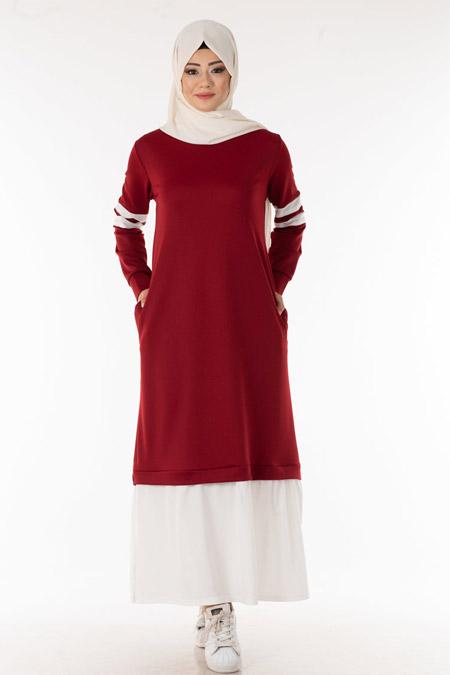 Bordo Kolu Şeritli Tesettür Elbise
