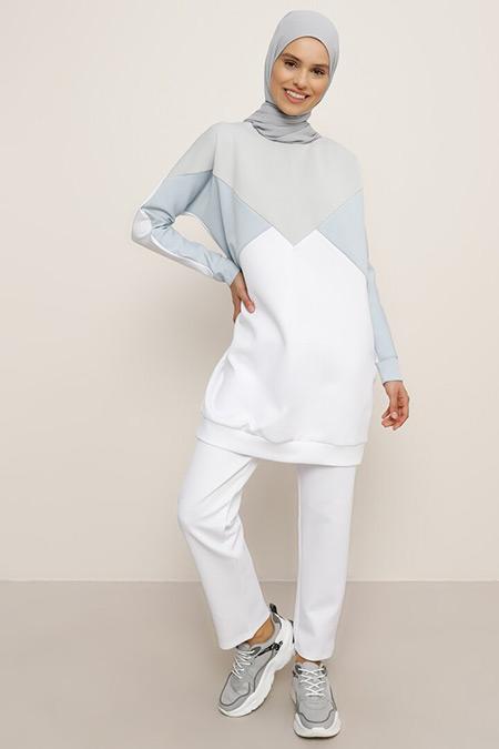 Everyday Basic Mavi Gri Beyaz Tunik&Pantolon İkili Takım