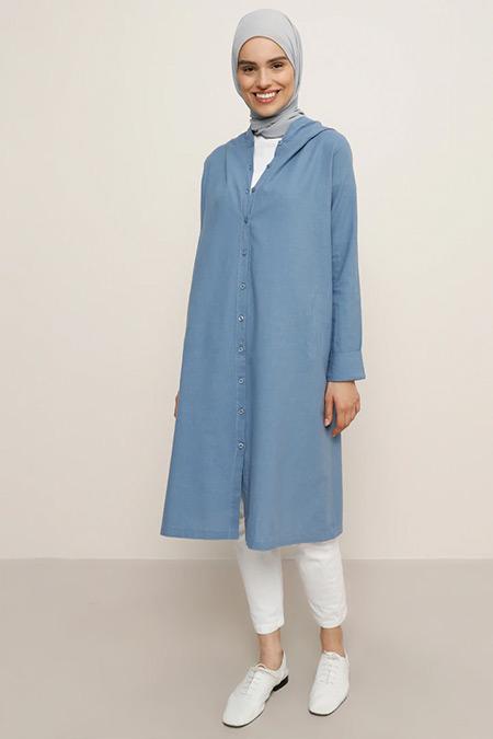 Everyday Basic Mavi Kapüşonlu Boydan Düğmeli Tunik