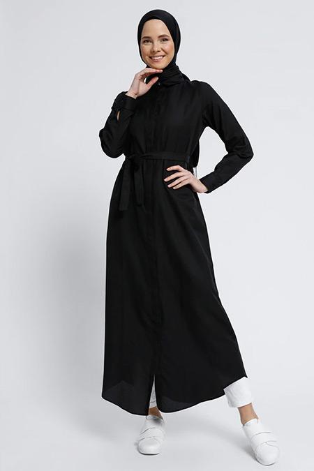 Everyday Basic Siyah Doğal Kumaşlı Gizli Düğmeli Uzun Tunik