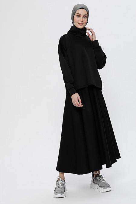 Everyday Basic Siyah Scuba Kumaşlı Bluz&Etek İkili Takım