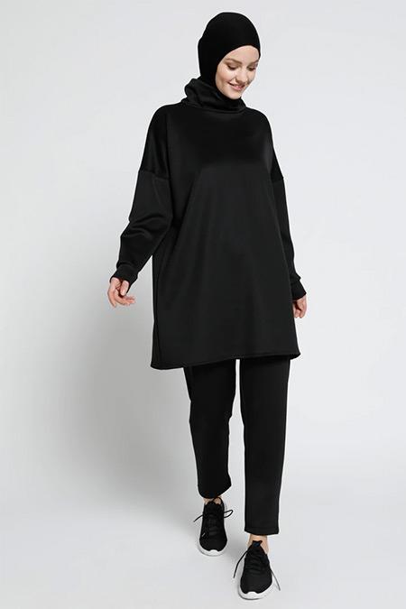 Everyday Basic Siyah Scuba Kumaşlı Tunik&Pantolon İkili Takım