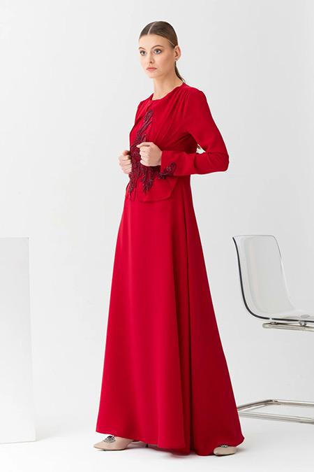 Gönül Kolat Bordo Narin Abiye Elbise