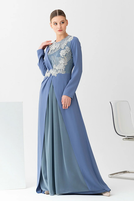 Gönül Kolat Mavi Puanlı Abiye Elbise