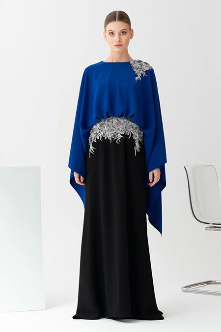 Gönül Kolat Saks Mavisi Çift Renk Abiye Elbise