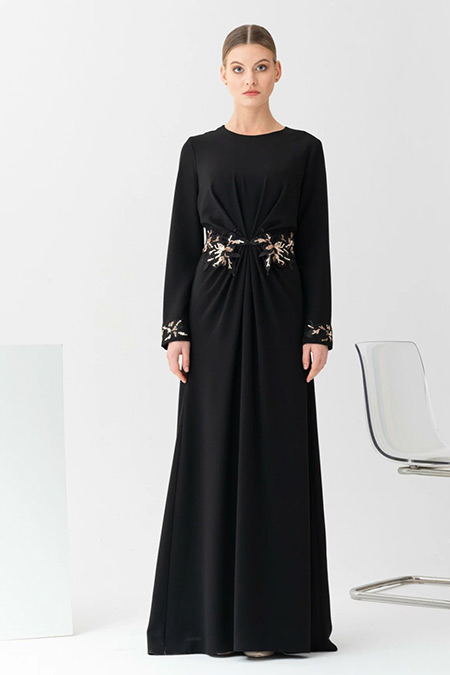 Gönül Kolat Siyah Büzgülü Dantelli Asil Abiye Elbise