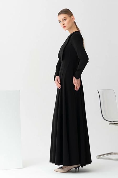 Gönül Kolat Siyah Yakalı Abiye Elbise