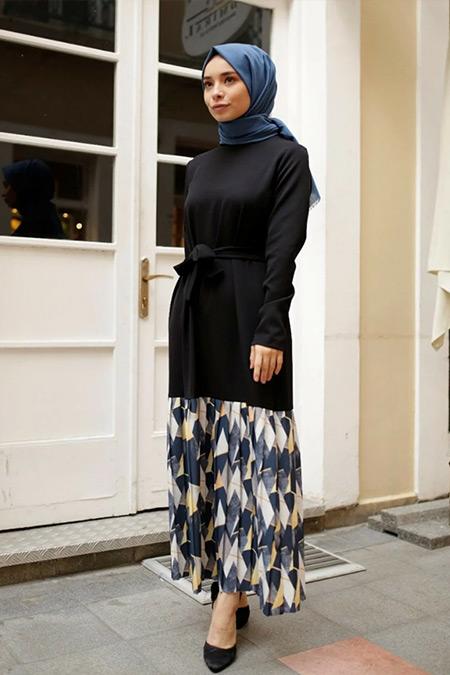 Gizce Siyah Amber Elbise