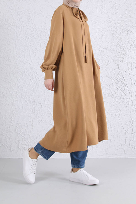 HE-QA Camel Yakası Bağlı Tunik