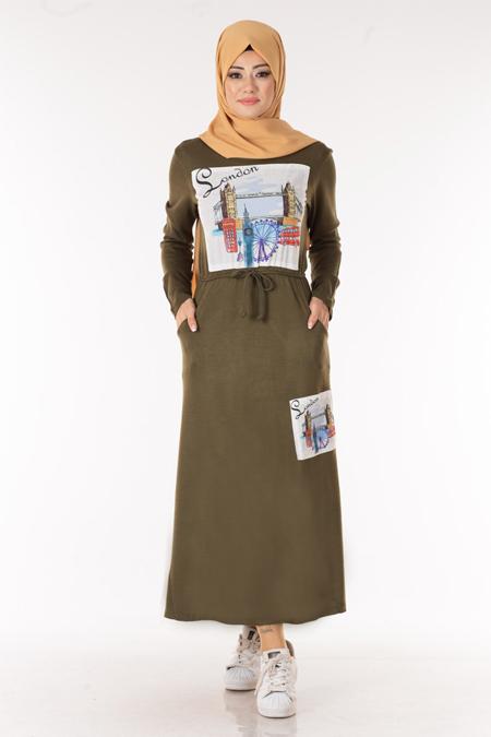 Haki Baskılı Cepli Tesettür Elbise