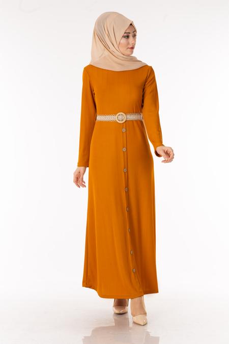 Hardal Eteği Düğmeli Tesettür Elbise
