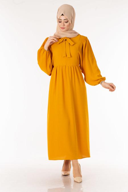 Hardal Fularlı Tesettür Elbise