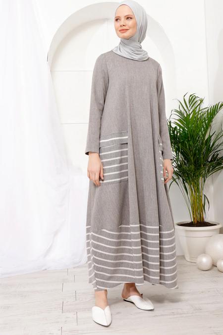 İnşirah Gri Çizgili Cepli Elbise