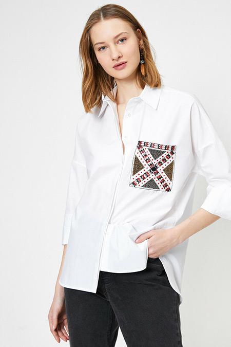 Koton Beyaz El Emeği Gömlek
