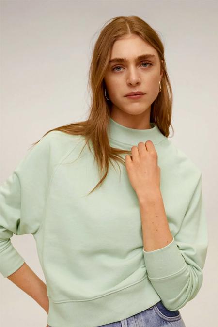 Mango Yeşil Pamuklu Sweatshirt