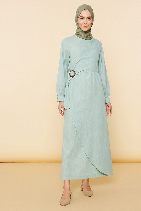 Mnatural Çağla Doğal Kumaşlı Beli Tokalı Elbise