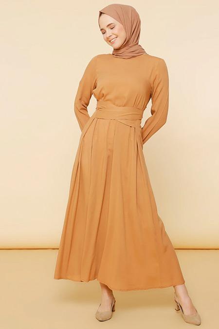 Mnatural Açık Kahve Doğal Kumaşlı Düz Renk Elbise