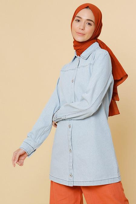 Mnatural Açık Mavi Doğal Kumaşlı Kot Ceket