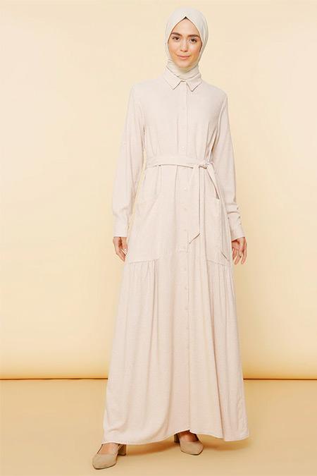 Mnatural Bej Boydan Düğmeli Cepli Elbise