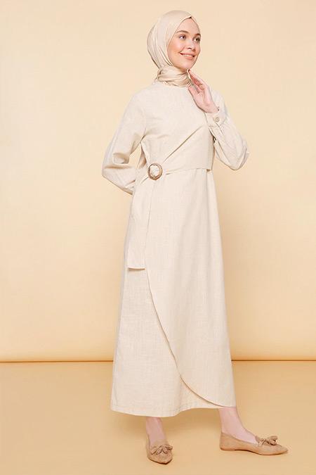 Mnatural Bej Doğal Kumaşlı Beli Tokalı Elbise