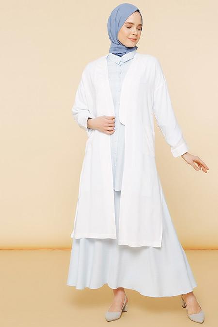 Mnatural Beyaz Doğal Kumaşlı Cep Detaylı Kimono