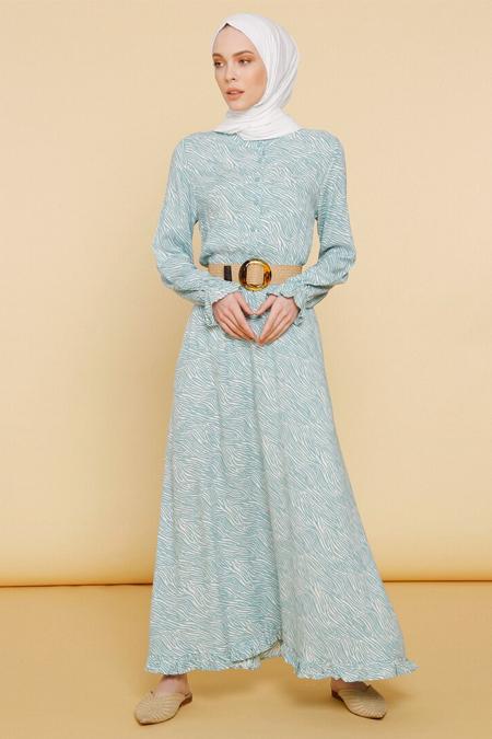Mnatural Çağla Doğal Kumaşlı Desenli Elbise