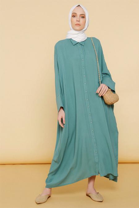 Mnatural Çağla Doğal Kumaşlı Desenli Salaş Elbise
