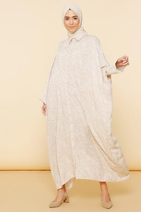Mnatural Camel Doğal Kumaşlı Desenli Salaş Elbise