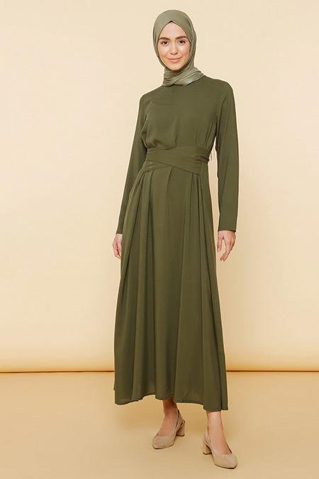Mnatural Haki Doğal Kumaşlı Düz Renk Elbise