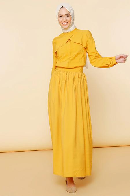 Mnatural Hardal Volan Detaylı Elbise