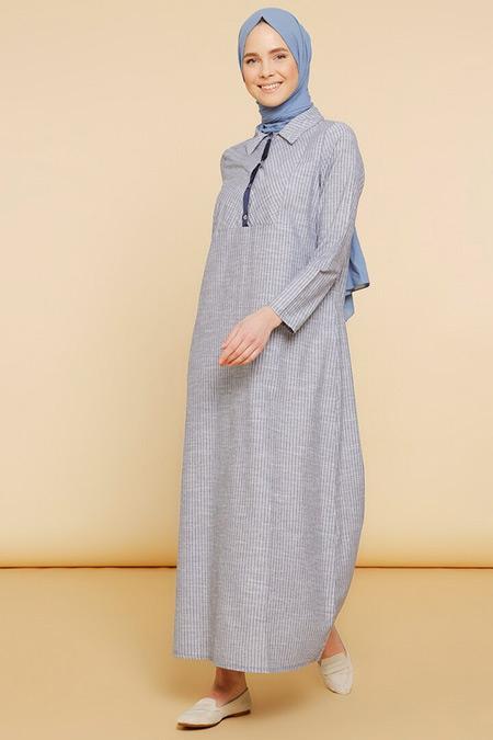 Mnatural Lacivert Doğal Kumaşlı Çizgili Gömlek Elbise