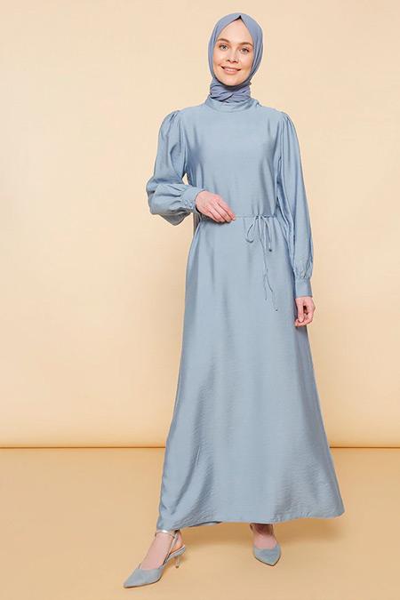 Mnatural Mavi Beli Bağcıklı Elbise