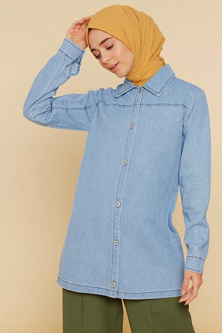 Mnatural Mavi Doğal Kumaşlı Kot Ceket