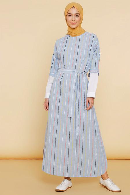 Mnatural Mavi Renkli Çizgili Elbise