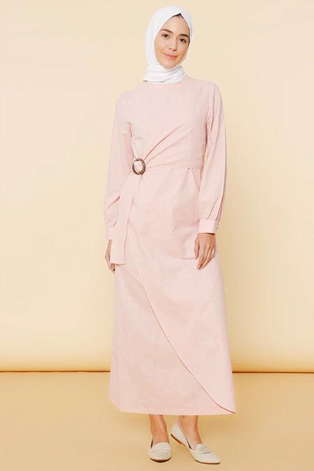 Mnatural Pudra Doğal Kumaşlı Beli Tokalı Elbise