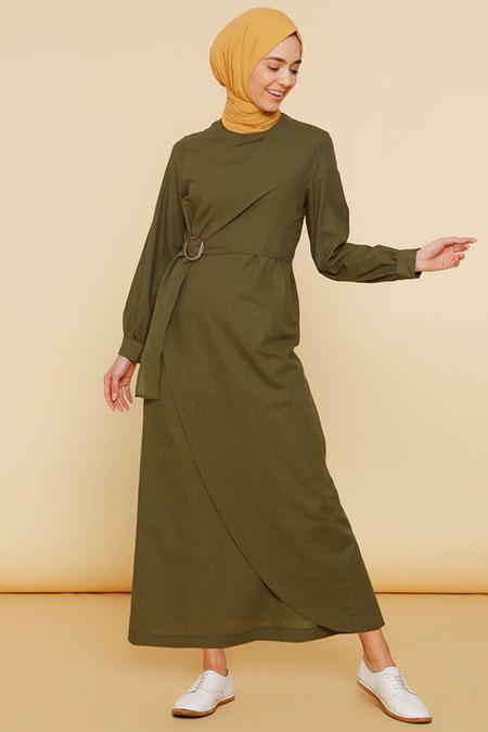 Mnatural Yeşil Doğal Kumaşlı Beli Tokalı Elbise