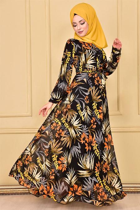 Modamerve Siyah Desenli Şifon Elbise