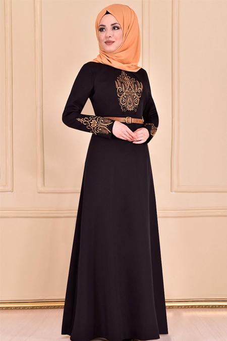 Modamerve Siyah Kemerli Elbise