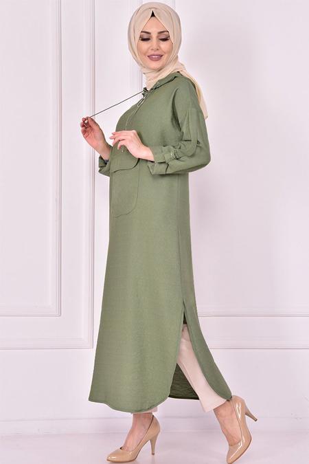 Modamerve Yeşil Kapşonlu Tunik
