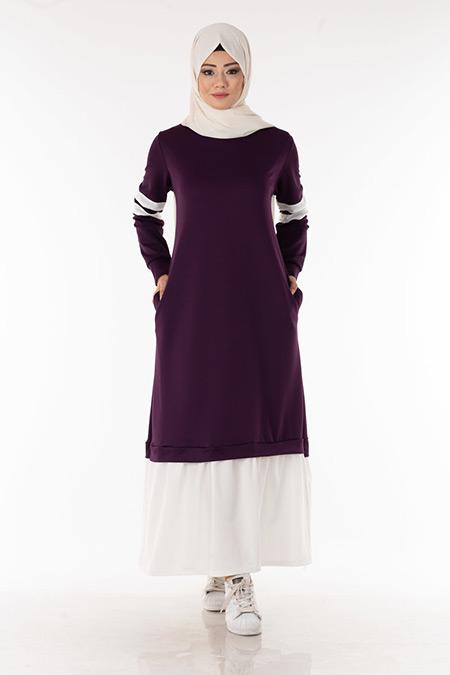 Mor Kolu Şeritli Tesettür Elbise
