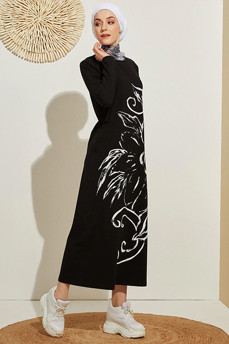 Muni Muni Siyah Baskılı Natürel Elbise