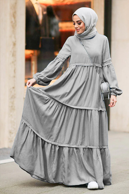 Neways Gri Fırfırlı Kot Elbise