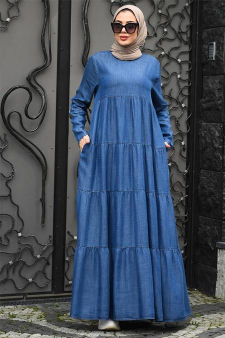 Neways Koyu Mavi Büzgülü Kot Elbise