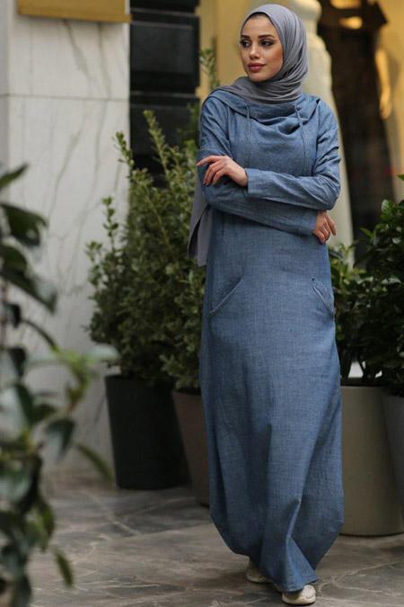 Neways Koyu Mavi Kapüşonlu Kot Elbise