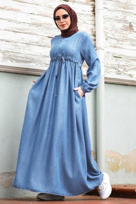 Neways Mavi Büzgülü Kot Elbise