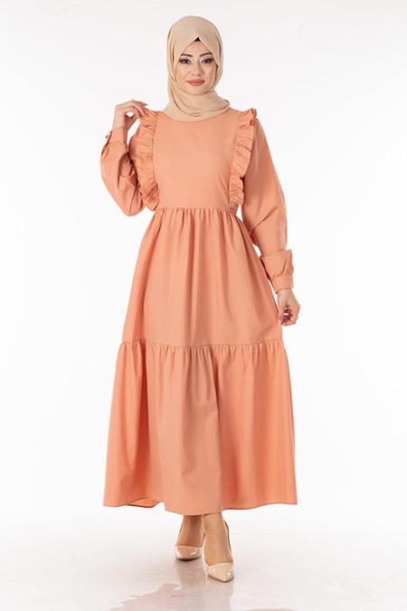 Pudra Fırfır Detay Tesettür Elbise